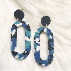 Blue and Black Resin Statement Earrings